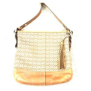 💕Coach tan crossbody fabric leather f065-f10417💕